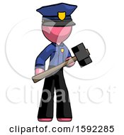 Pink Police Man With Sledgehammer Standing Ready To Work Or Defend