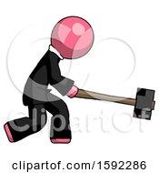 Pink Clergy Man Hitting With Sledgehammer Or Smashing Something