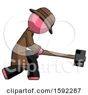 Pink Detective Man Hitting With Sledgehammer Or Smashing Something