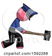 Pink Police Man Hitting With Sledgehammer Or Smashing Something