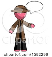 Pink Detective Man With Word Bubble Talking Chat Icon