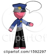 Pink Police Man With Word Bubble Talking Chat Icon