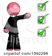 Pink Clergy Man Standing By List Of Checkmarks