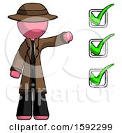 Pink Detective Man Standing By List Of Checkmarks