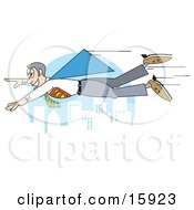 Male Super Hero Flying Through The Air Above A City Clipart Illustration