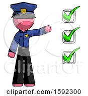 Pink Police Man Standing By List Of Checkmarks