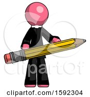 Pink Clergy Man Writer Or Blogger Holding Large Pencil