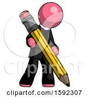 Pink Clergy Man Writing With Large Pencil
