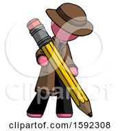 Pink Detective Man Writing With Large Pencil