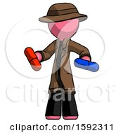 Pink Detective Man Red Pill Or Blue Pill Concept