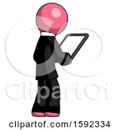 Pink Clergy Man Looking At Tablet Device Computer Facing Away
