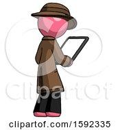 Pink Detective Man Looking At Tablet Device Computer Facing Away