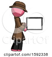 Pink Detective Man Show Tablet Device Computer To Viewer Blank Area