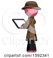 Pink Detective Man Looking At Tablet Device Computer With Back To Viewer
