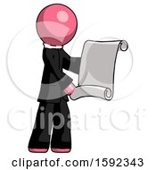 Pink Clergy Man Holding Blueprints Or Scroll