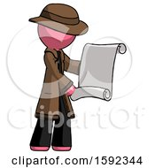Pink Detective Man Holding Blueprints Or Scroll