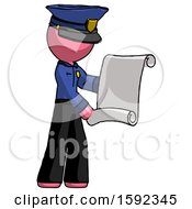 Pink Police Man Holding Blueprints Or Scroll