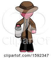 Pink Detective Man Begger Holding Can Begging Or Asking For Charity