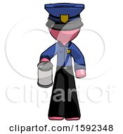 Pink Police Man Begger Holding Can Begging Or Asking For Charity