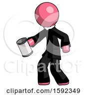 Pink Clergy Man Begger Holding Can Begging Or Asking For Charity Facing Left
