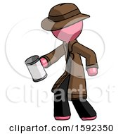 Pink Detective Man Begger Holding Can Begging Or Asking For Charity Facing Left