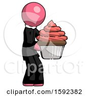 Pink Clergy Man Holding Large Cupcake Ready To Eat Or Serve