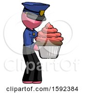 Pink Police Man Holding Large Cupcake Ready To Eat Or Serve
