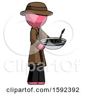 Pink Detective Man Holding Noodles Offering To Viewer