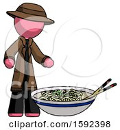 Pink Detective Man And Noodle Bowl Giant Soup Restaraunt Concept