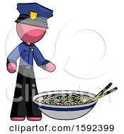 Pink Police Man And Noodle Bowl Giant Soup Restaraunt Concept