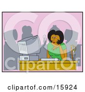 Poster, Art Print Of African American Woman Seated In Front Of A Computer At An Office Desk Smiling And Thinking