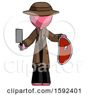 Pink Detective Man Holding Large Steak With Butcher Knife