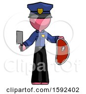 Pink Police Man Holding Large Steak With Butcher Knife
