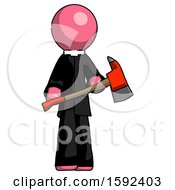 Pink Clergy Man Holding Red Fire Fighters Ax