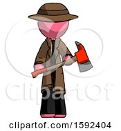Pink Detective Man Holding Red Fire Fighters Ax