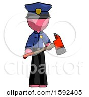 Pink Police Man Holding Red Fire Fighters Ax