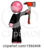 Pink Clergy Man Holding Up Red Firefighters Ax