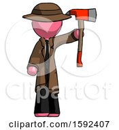 Pink Detective Man Holding Up Red Firefighters Ax