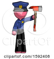 Pink Police Man Holding Up Red Firefighters Ax