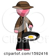 Pink Detective Man Frying Egg In Pan Or Wok