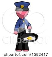 Pink Police Man Frying Egg In Pan Or Wok