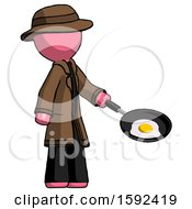 Pink Detective Man Frying Egg In Pan Or Wok Facing Right