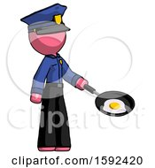 Pink Police Man Frying Egg In Pan Or Wok Facing Right