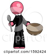 Pink Clergy Man With Empty Bowl And Spoon Ready To Make Something