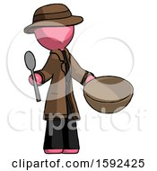 Pink Detective Man With Empty Bowl And Spoon Ready To Make Something