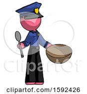 Pink Police Man With Empty Bowl And Spoon Ready To Make Something