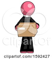 Pink Clergy Man Holding Box Sent Or Arriving In Mail