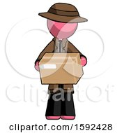 Pink Detective Man Holding Box Sent Or Arriving In Mail