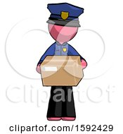 Pink Police Man Holding Box Sent Or Arriving In Mail