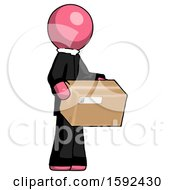 Pink Clergy Man Holding Package To Send Or Recieve In Mail